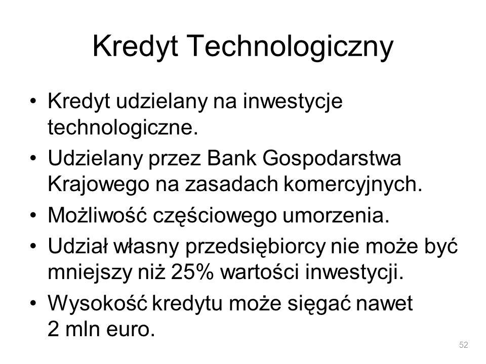 Kredyt Technologiczny Kredyt udzielany na inwestycje technologiczne. Udzielany przez Bank Gospodarstwa Krajowego na zasadach komercyjnych. Możliwość c