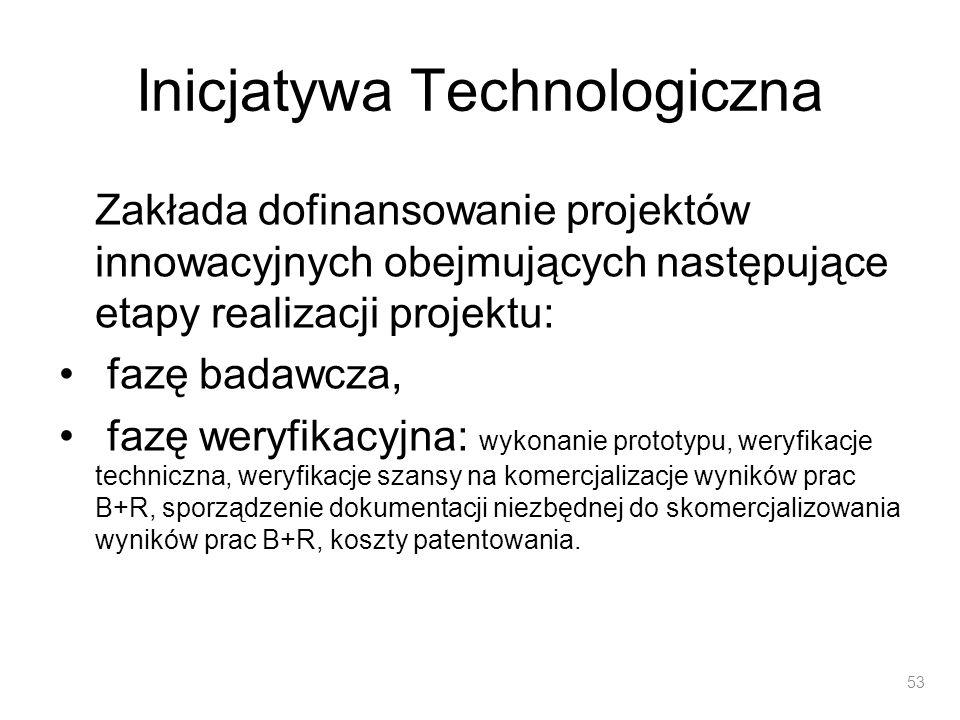 Inicjatywa Technologiczna Zakłada dofinansowanie projektów innowacyjnych obejmujących następujące etapy realizacji projektu: fazę badawcza, fazę weryf