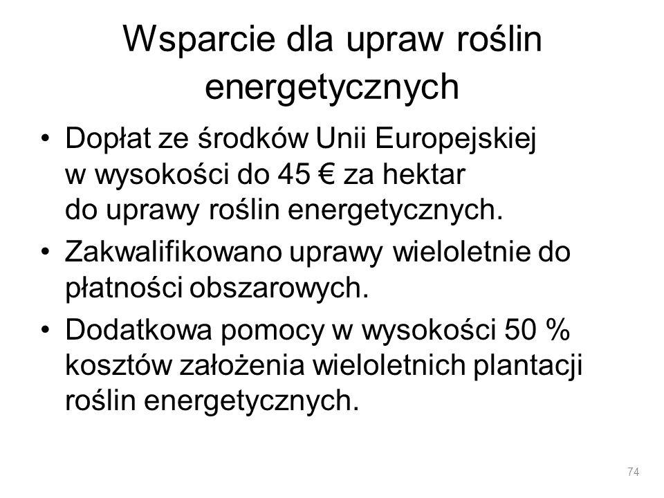 Wsparcie dla upraw roślin energetycznych Dopłat ze środków Unii Europejskiej w wysokości do 45 za hektar do uprawy roślin energetycznych. Zakwalifikow