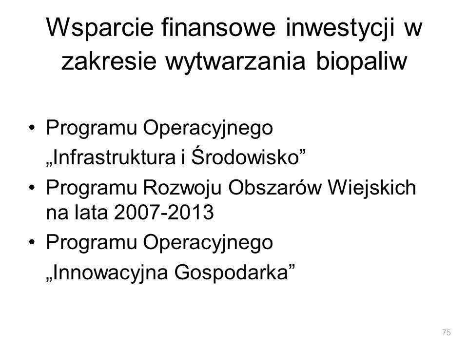 Wsparcie finansowe inwestycji w zakresie wytwarzania biopaliw Programu Operacyjnego Infrastruktura i Środowisko Programu Rozwoju Obszarów Wiejskich na