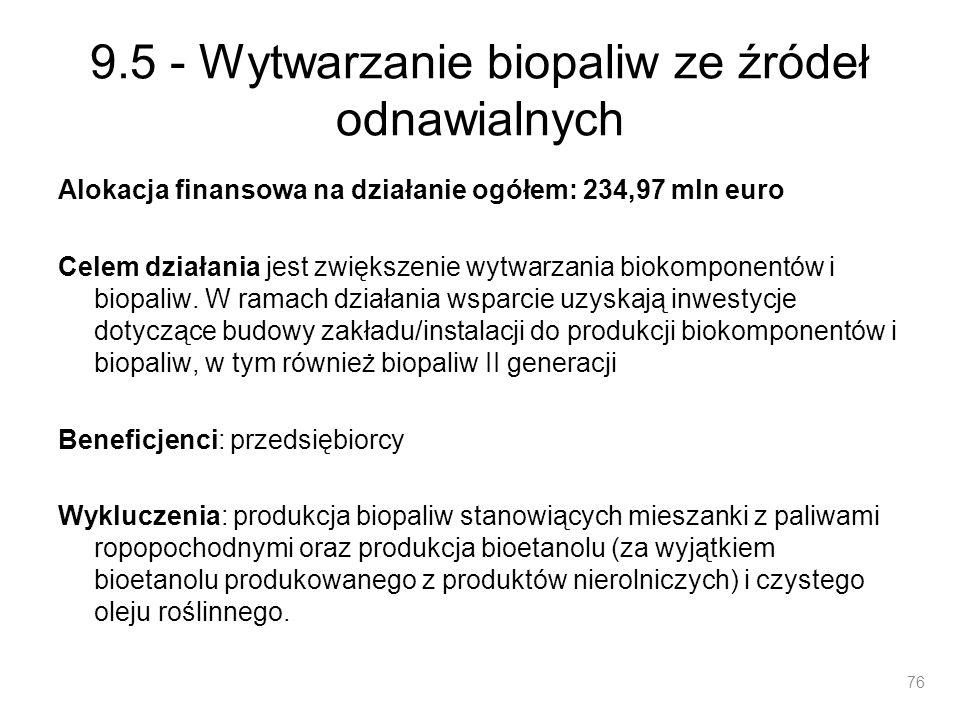 9.5 - Wytwarzanie biopaliw ze źródeł odnawialnych Alokacja finansowa na działanie ogółem: 234,97 mln euro Celem działania jest zwiększenie wytwarzania