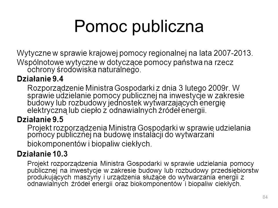 Pomoc publiczna Wytyczne w sprawie krajowej pomocy regionalnej na lata 2007-2013. Wspólnotowe wytyczne w dotyczące pomocy państwa na rzecz ochrony śro