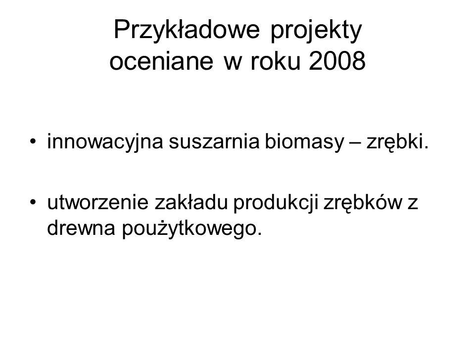 Przykładowe projekty oceniane w roku 2008 innowacyjna suszarnia biomasy – zrębki. utworzenie zakładu produkcji zrębków z drewna poużytkowego.