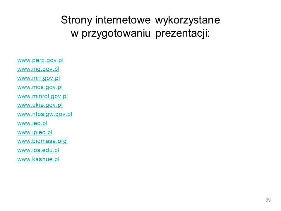 Strony internetowe wykorzystane w przygotowaniu prezentacji: www.parp.gov.pl www.mg.gov.pl www.mrr.gov.pl www.mos.gov.pl www.minrol.gov.pl www.ukie.go