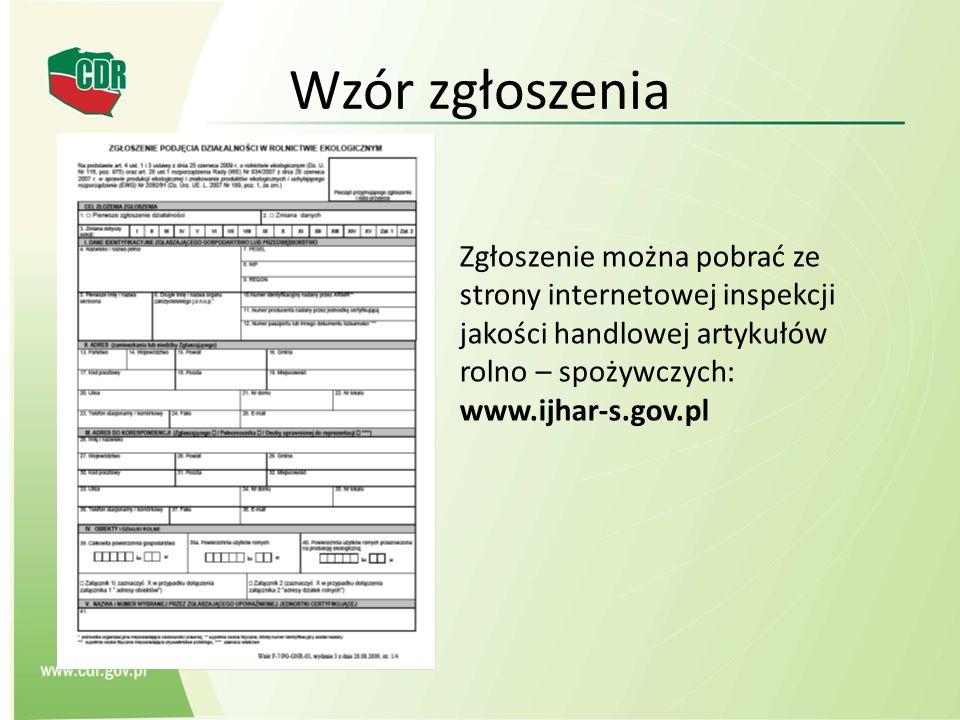 Wzór zgłoszenia Zgłoszenie można pobrać ze strony internetowej inspekcji jakości handlowej artykułów rolno – spożywczych: www.ijhar-s.gov.pl