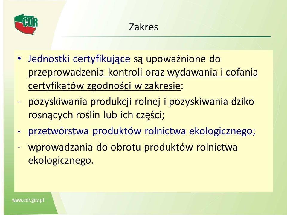 Zakres Jednostki certyfikujące są upoważnione do przeprowadzenia kontroli oraz wydawania i cofania certyfikatów zgodności w zakresie: -pozyskiwania pr