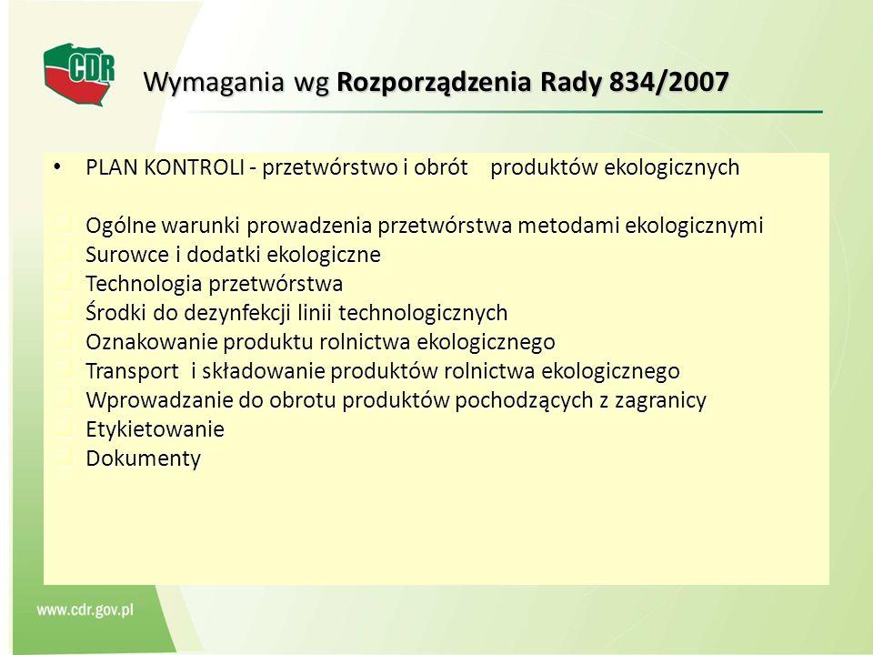 Wymagania wg Rozporządzenia Rady 834/2007 PLAN KONTROLI - przetwórstwo i obrót produktów ekologicznych PLAN KONTROLI - przetwórstwo i obrót produktów