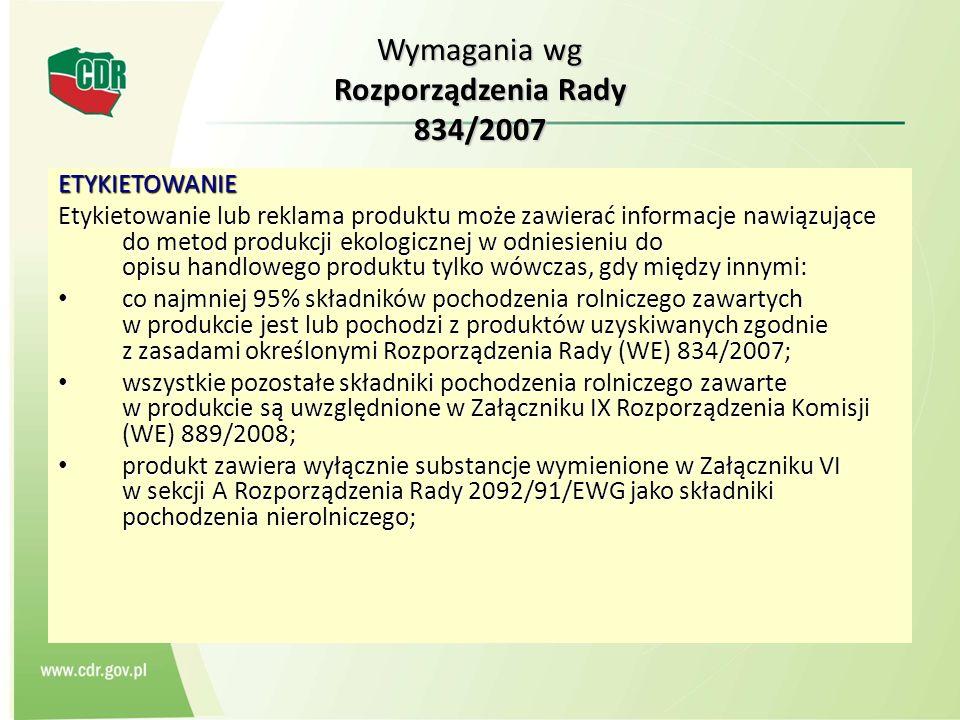 Wymagania wg Rozporządzenia Rady 834/2007 ETYKIETOWANIE Etykietowanie lub reklama produktu może zawierać informacje nawiązujące do metod produkcji eko