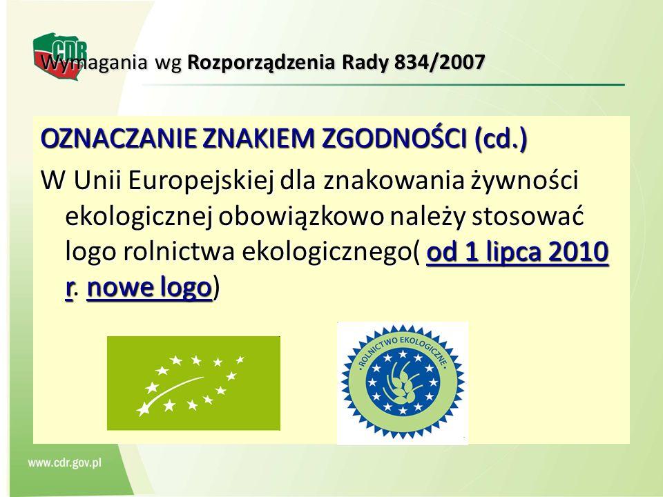 Wymagania wg Rozporządzenia Rady 834/2007 OZNACZANIE ZNAKIEM ZGODNOŚCI (cd.) W Unii Europejskiej dla znakowania żywności ekologicznej obowiązkowo nale