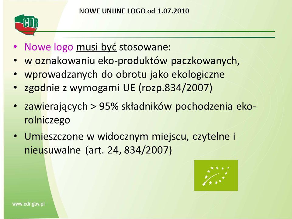 NOWE UNIJNE LOGO od 1.07.2010 Nowe logo musi być stosowane: w oznakowaniu eko-produktów paczkowanych, wprowadzanych do obrotu jako ekologiczne zgodnie