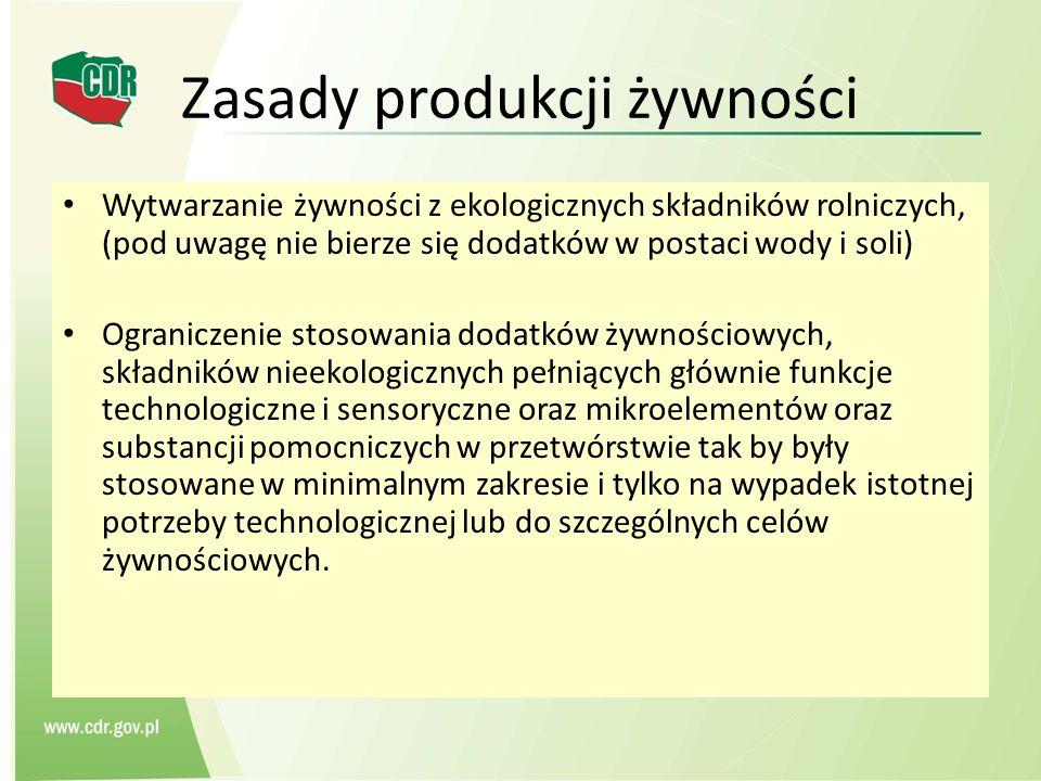 Zasady produkcji żywności Wytwarzanie żywności z ekologicznych składników rolniczych, (pod uwagę nie bierze się dodatków w postaci wody i soli) Ograni