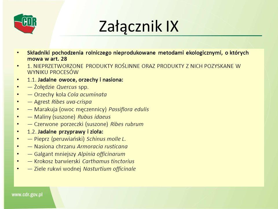 Załącznik IX Składniki pochodzenia rolniczego nieprodukowane metodami ekologicznymi, o których mowa w art. 28 1. NIEPRZETWORZONE PRODUKTY ROŚLINNE ORA