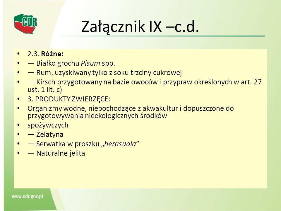 Załącznik IX –c.d. 2.3. Różne: Białko grochu Pisum spp. Rum, uzyskiwany tylko z soku trzciny cukrowej Kirsch przygotowany na bazie owoców i przypraw o