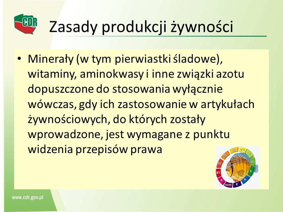 Zasady produkcji żywności Minerały (w tym pierwiastki śladowe), witaminy, aminokwasy i inne związki azotu dopuszczone do stosowania wyłącznie wówczas,