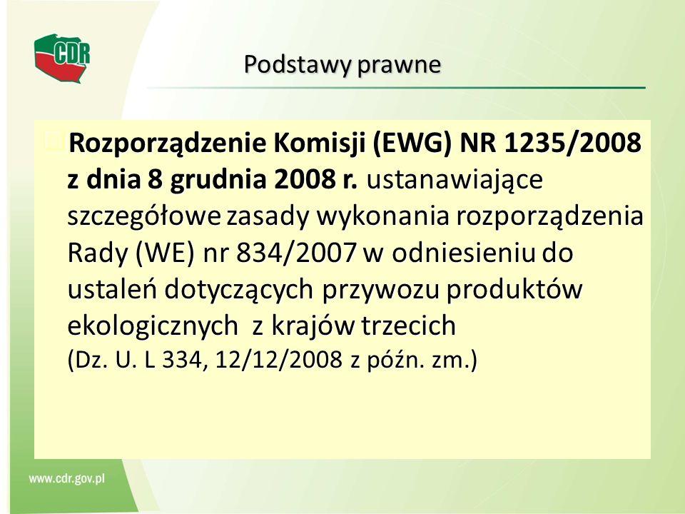 Podstawy prawne Rozporządzenie Komisji (EWG) NR 1235/2008 z dnia 8 grudnia 2008 r. ustanawiające szczegółowe zasady wykonania rozporządzenia Rady (WE)