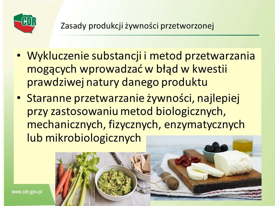 Zasady produkcji żywności przetworzonej Wykluczenie substancji i metod przetwarzania mogących wprowadzać w błąd w kwestii prawdziwej natury danego pro