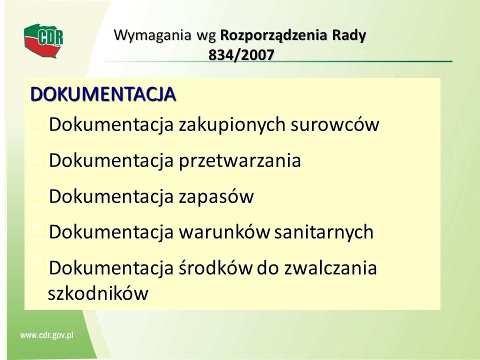 Wymagania wg Rozporządzenia Rady 834/2007 DOKUMENTACJA Dokumentacja zakupionych surowców Dokumentacja zakupionych surowców Dokumentacja przetwarzania