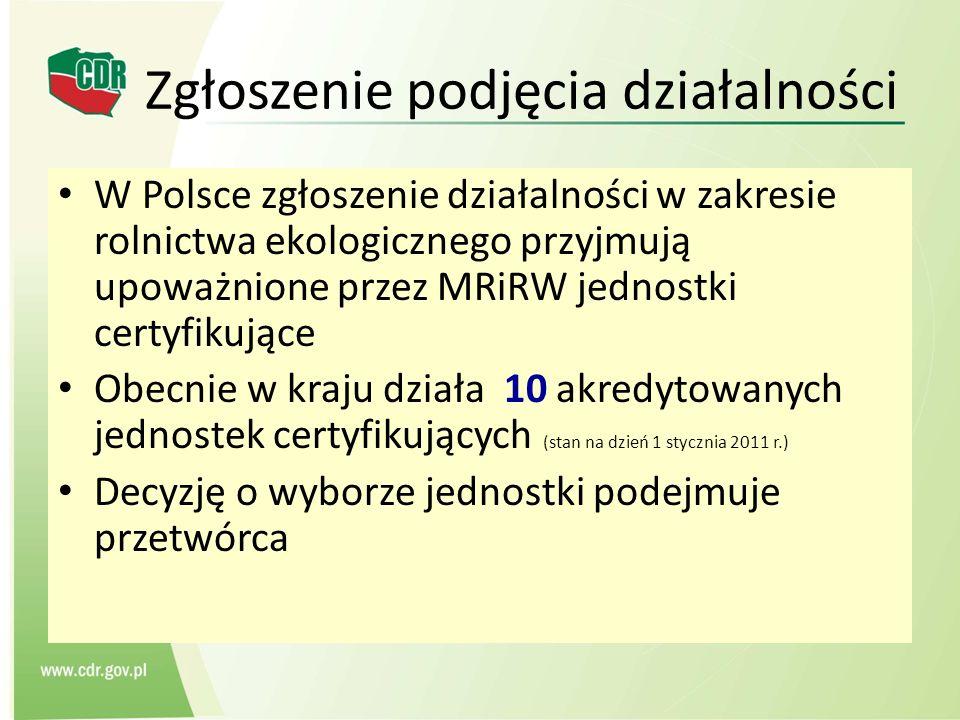 Zgłoszenie podjęcia działalności W Polsce zgłoszenie działalności w zakresie rolnictwa ekologicznego przyjmują upoważnione przez MRiRW jednostki certy