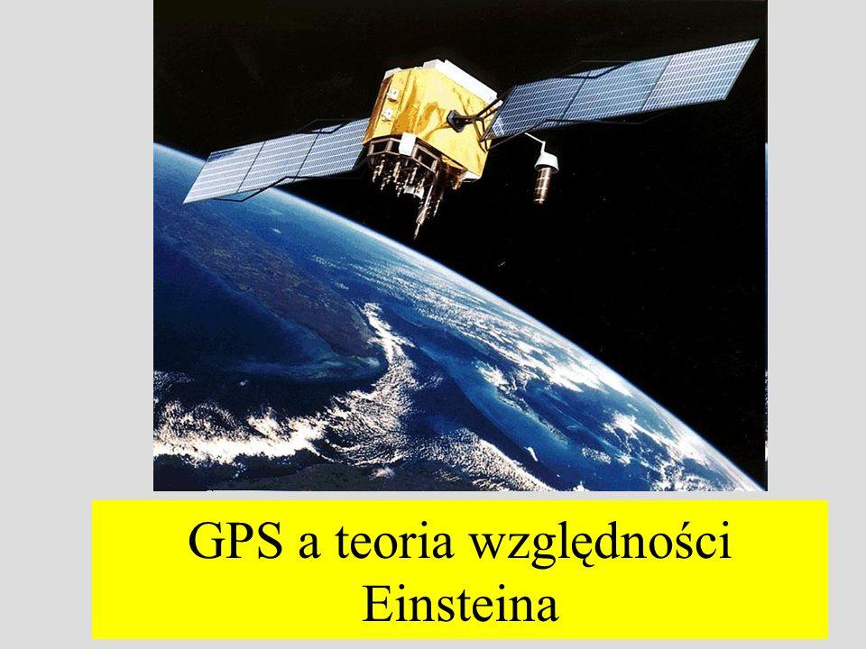 gdzie Z ( S ) to czas mierzony na Ziemi (satelicie), M Z masa Ziemi, G – newtonowska stała grawitacji R Z (R S ) promienie orbit kołowych zegara na powierzchni Ziemi (na orbicie) GPS - efekt pola grawitacyjnego R S =26 561 km; (1-x) 1/2 1-x/2; d Z =GM Z /(R Z c 2 ) =6,98 10 -10 i d S =GM Z /(R S c 2 )=1,6710 -10