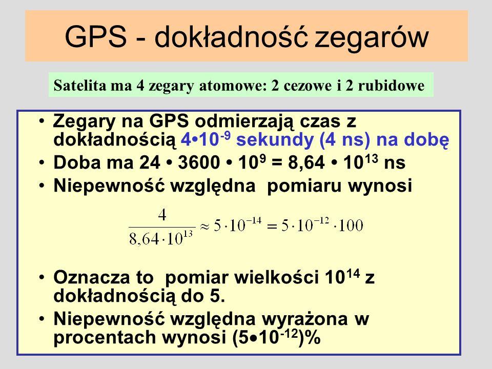 GPS - dokładność zegarów Zegary na GPS odmierzają czas z dokładnością 410 -9 sekundy (4 ns) na dobę Doba ma 24 3600 10 9 = 8,64 10 13 ns Niepewność wz