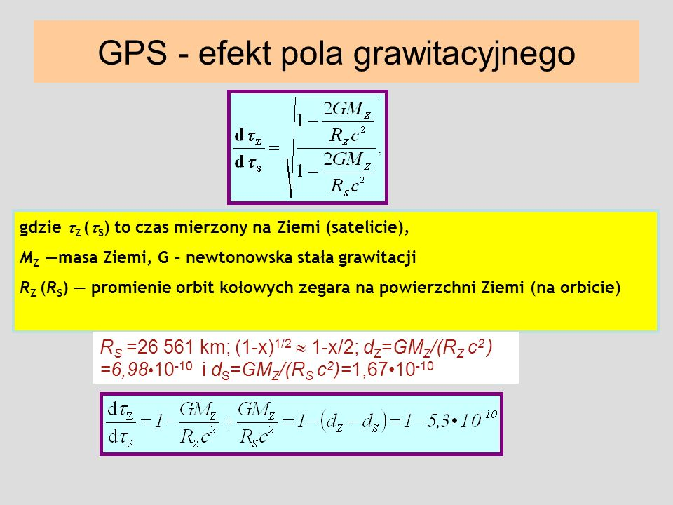 gdzie Z ( S ) to czas mierzony na Ziemi (satelicie), M Z masa Ziemi, G – newtonowska stała grawitacji R Z (R S ) promienie orbit kołowych zegara na po