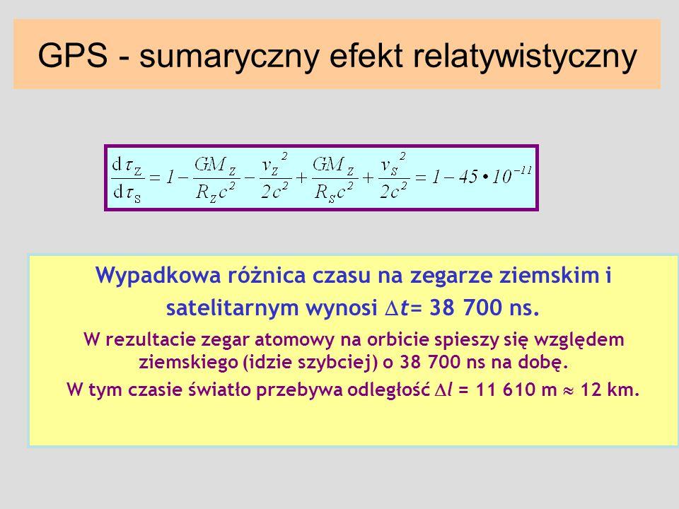 GPS - sumaryczny efekt relatywistyczny Wypadkowa różnica czasu na zegarze ziemskim i satelitarnym wynosi t= 38 700 ns. W rezultacie zegar atomowy na o