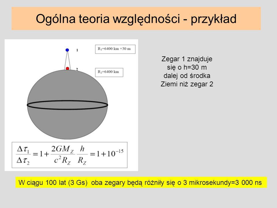 W ciągu 100 lat (3 Gs) oba zegary będą różniły się o 3 mikrosekundy=3 000 ns Ogólna teoria względności - przykład Zegar 1 znajduje się o h=30 m dalej