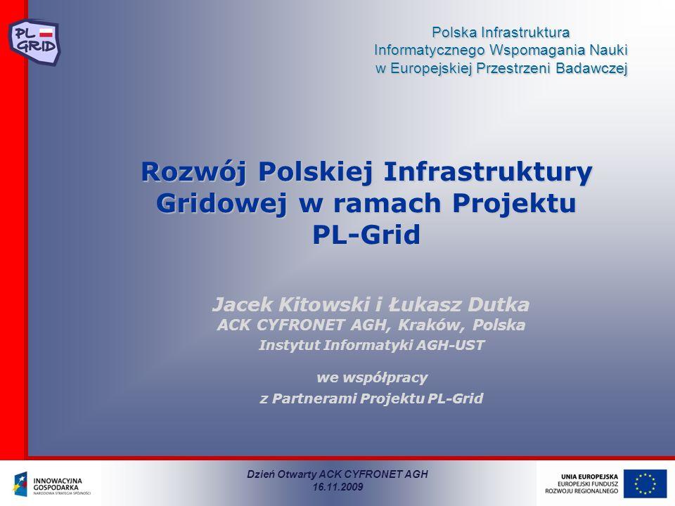 Polska Infrastruktura Informatycznego Wspomagania Nauki w Europejskiej Przestrzeni Badawczej Rozwój Polskiej Infrastruktury Gridowej w ramach Projektu