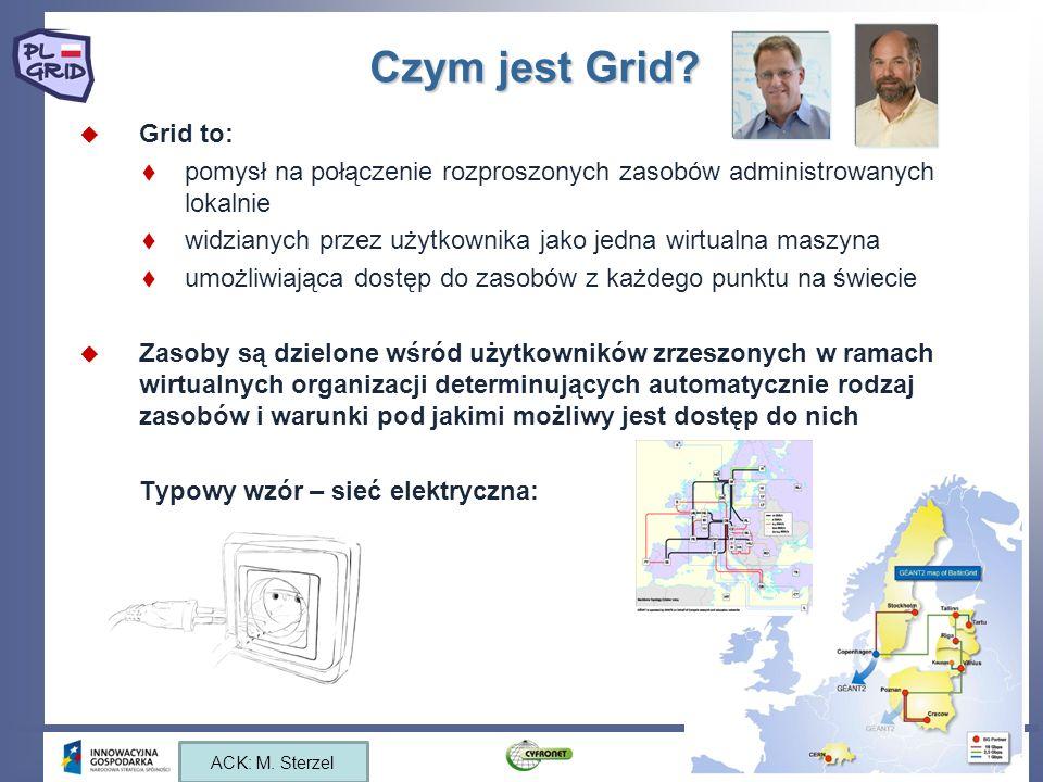 Czym jest Grid? Grid to: pomysł na połączenie rozproszonych zasobów administrowanych lokalnie widzianych przez użytkownika jako jedna wirtualna maszyn