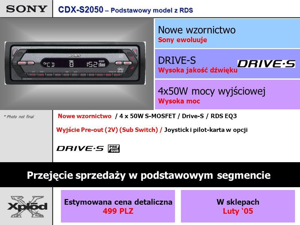 4x50W mocy wyjściowej Wysoka moc DRIVE-S Wysoka jakość dźwięku Nowe wzornictwo Sony ewoluuje CDX-S2050 – Podstawowy model z RDS Przejęcie sprzedaży w podstawowym segmencie Estymowana cena detaliczna 499 PLZ W sklepach Luty 05 Nowe wzornictwo / 4 x 50W S-MOSFET / Drive-S / RDS EQ3 Wyjście Pre-out (2V) (Sub Switch) / Joystick i pilot-karta w opcji * Photo not final