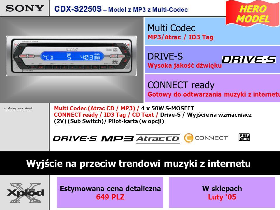 CONNECT ready Gotowy do odtwarzania muzyki z internetu DRIVE-S Wysoka jakość dźwięku Multi Codec MP3/Atrac / ID3 Tag Wyjście na przeciw trendowi muzyki z internetu Multi Codec (Atrac CD / MP3) / 4 x 50W S-MOSFET CONNECT ready / ID3 Tag / CD Text / Drive-S / Wyjście na wzmacniacz (2V) (Sub Switch)/ Pilot-karta (w opcji) * Photo not final CDX-S2250S – Model z MP3 z Multi-Codec HERO MODEL MODEL Estymowana cena detaliczna 649 PLZ W sklepach Luty 05