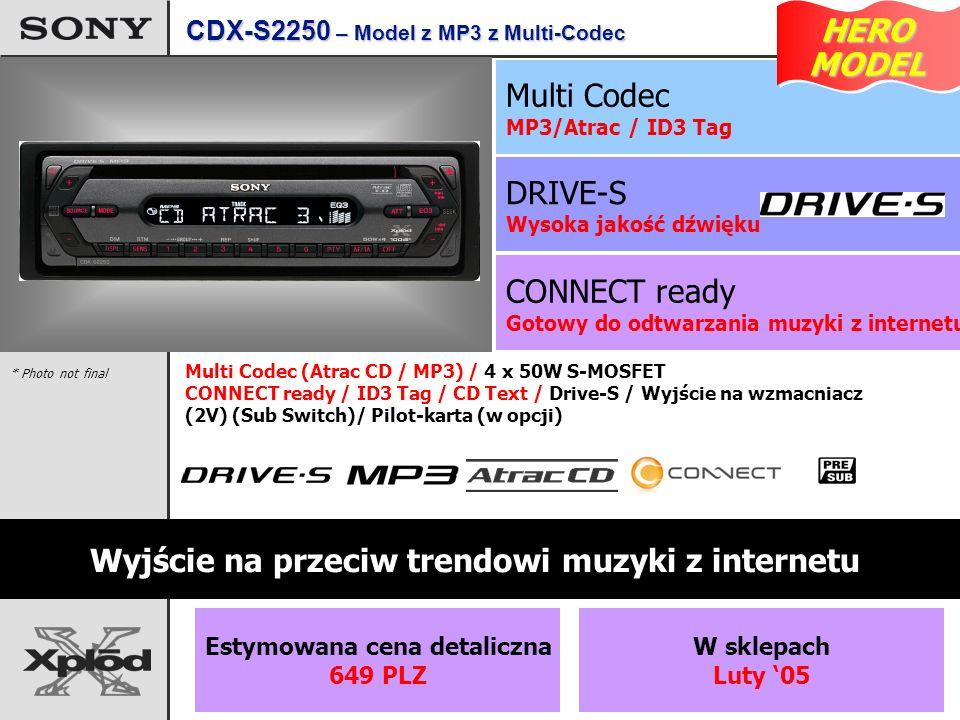 CONNECT ready Gotowy do odtwarzania muzyki z internetu DRIVE-S Wysoka jakość dźwięku Multi Codec MP3/Atrac / ID3 Tag Wyjście na przeciw trendowi muzyki z internetu Multi Codec (Atrac CD / MP3) / 4 x 50W S-MOSFET CONNECT ready / ID3 Tag / CD Text / Drive-S / Wyjście na wzmacniacz (2V) (Sub Switch)/ Pilot-karta (w opcji) * Photo not final CDX-S2250 – Model z MP3 z Multi-Codec HERO MODEL MODEL Estymowana cena detaliczna 649 PLZ W sklepach Luty 05