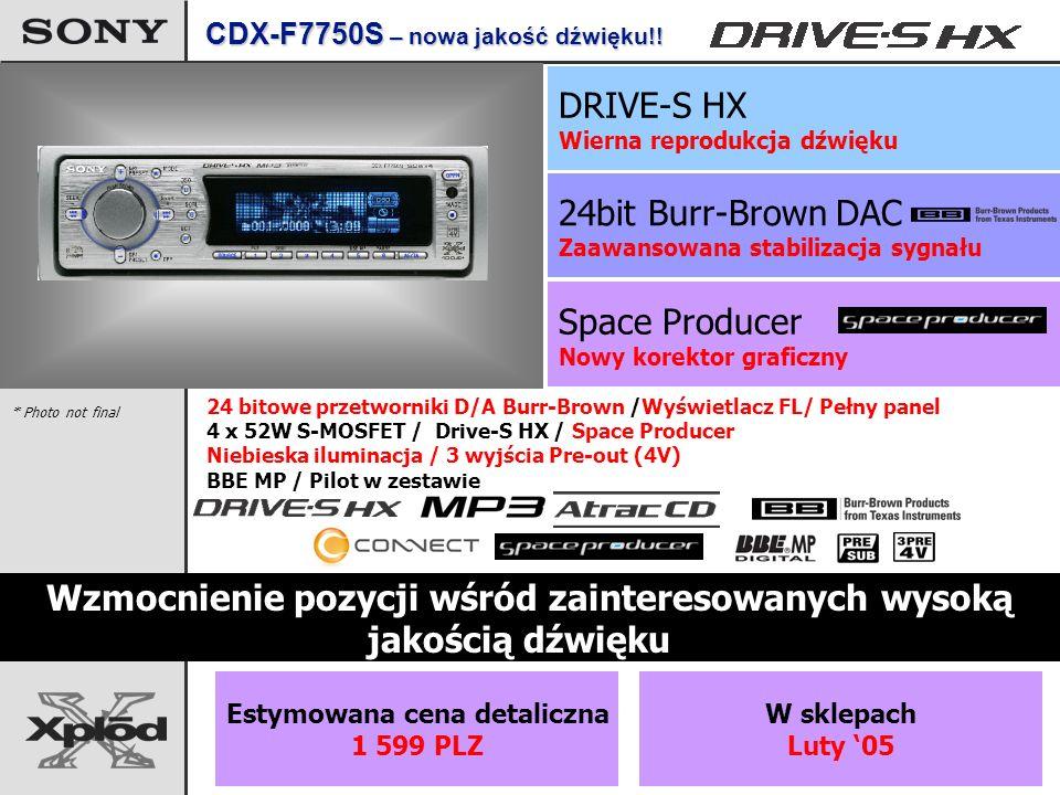 Space Producer Nowy korektor graficzny 24bit Burr-Brown DAC Zaawansowana stabilizacja sygnału Wzmocnienie pozycji wśród zainteresowanych wysoką jakością dźwięku 24 bitowe przetworniki D/A Burr-Brown /Wyświetlacz FL/ Pełny panel 4 x 52W S-MOSFET / Drive-S HX / Space Producer Niebieska iluminacja / 3 wyjścia Pre-out (4V) BBE MP / Pilot w zestawie * Photo not final CDX-F7750S – nowa jakość dźwięku!.