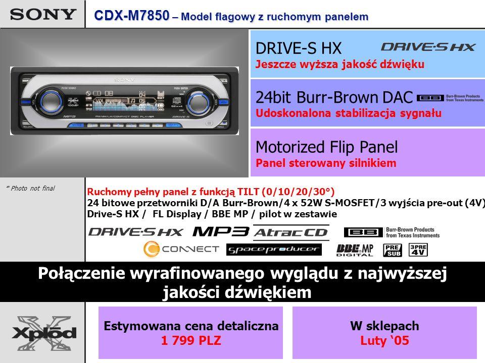 Motorized Flip Panel Panel sterowany silnikiem 24bit Burr-Brown DAC Udoskonalona stabilizacja sygnału DRIVE-S HX Jeszcze wyższa jakość dźwięku Połączenie wyrafinowanego wyglądu z najwyższej jakości dźwiękiem Ruchomy pełny panel z funkcją TILT (0/10/20/30°) 24 bitowe przetworniki D/A Burr-Brown/4 x 52W S-MOSFET/3 wyjścia pre-out (4V) Drive-S HX / FL Display / BBE MP / pilot w zestawie * Photo not final CDX-M7850 – Model flagowy z ruchomym panelem Estymowana cena detaliczna 1 799 PLZ W sklepach Luty 05