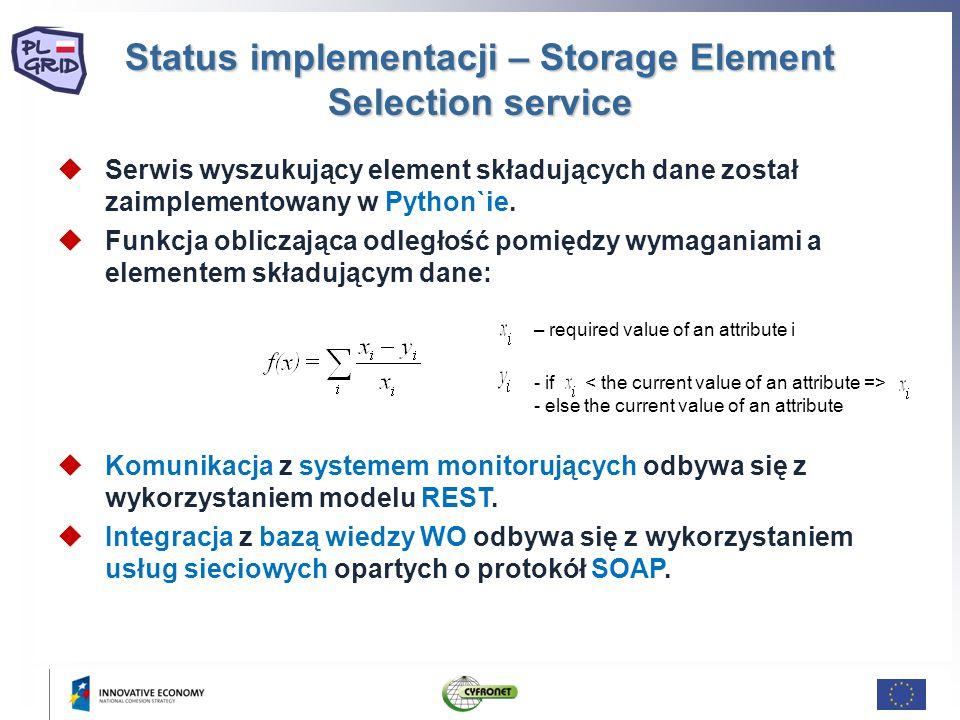 Status implementacji – Storage Element Selection service Serwis wyszukujący element składujących dane został zaimplementowany w Python`ie. Funkcja obl