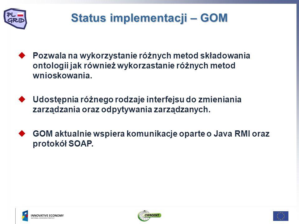 Status implementacji – GOM Pozwala na wykorzystanie różnych metod składowania ontologii jak również wykorzastanie różnych metod wnioskowania.