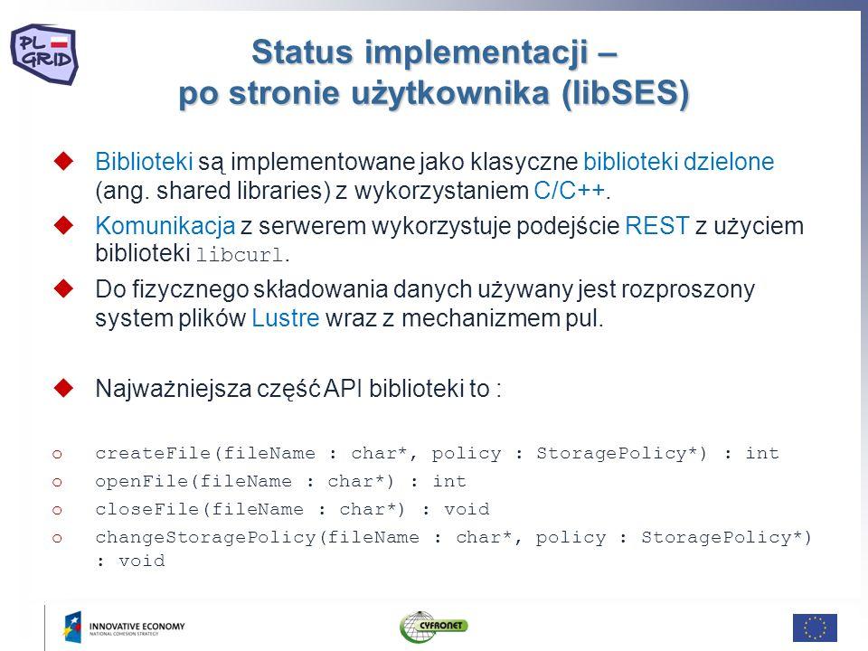 Status implementacji – po stronie użytkownika (libSES) Biblioteki są implementowane jako klasyczne biblioteki dzielone (ang. shared libraries) z wykor