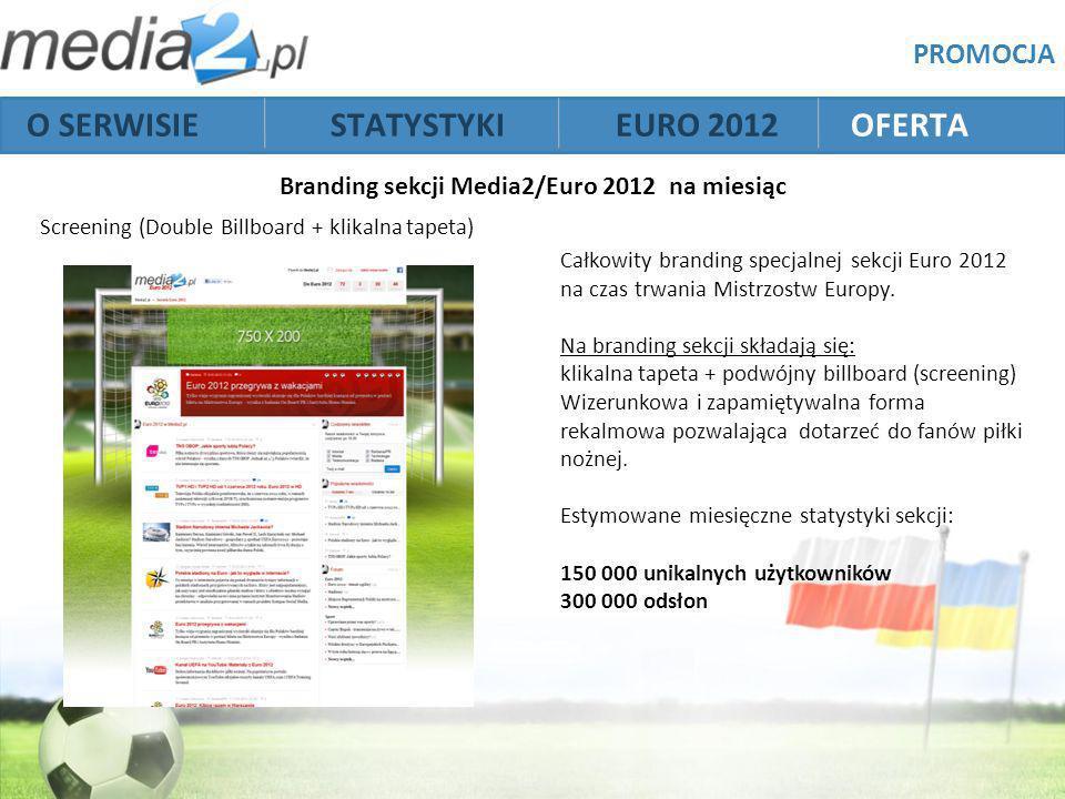 Branding sekcji Media2/Euro 2012 na miesiąc Screening (Double Billboard + klikalna tapeta) PROMOCJA Całkowity branding specjalnej sekcji Euro 2012 na czas trwania Mistrzostw Europy.