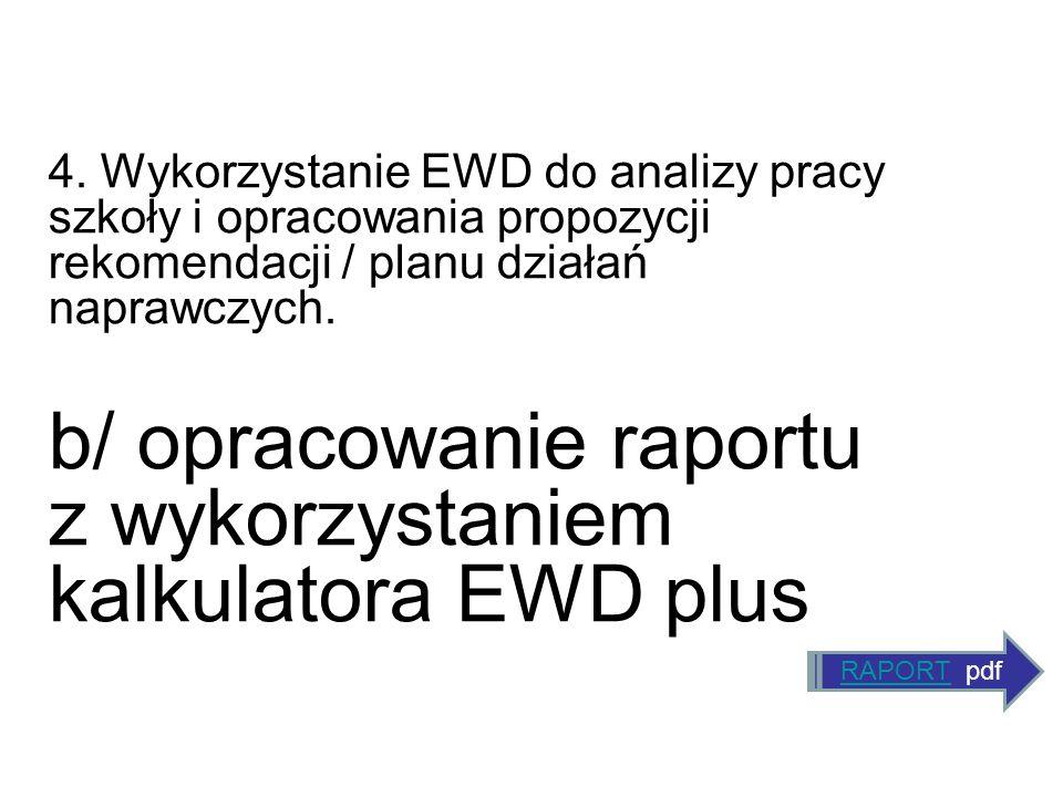 4. Wykorzystanie EWD do analizy pracy szkoły i opracowania propozycji rekomendacji / planu działań naprawczych. b/ opracowanie raportu z wykorzystanie