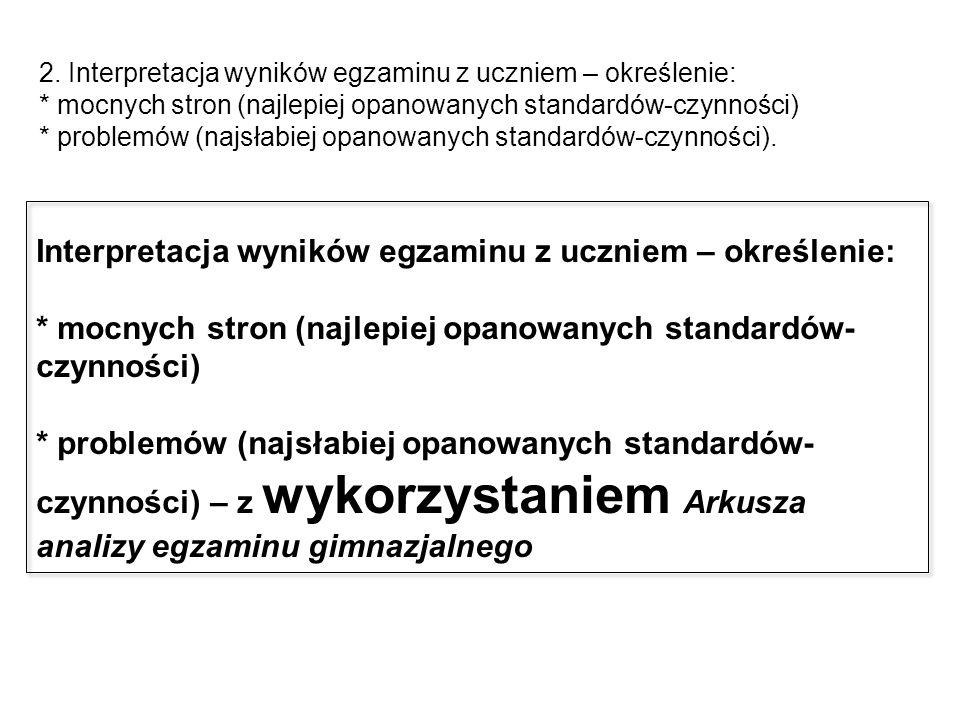 2. Interpretacja wyników egzaminu z uczniem – określenie: * mocnych stron (najlepiej opanowanych standardów-czynności) * problemów (najsłabiej opanowa