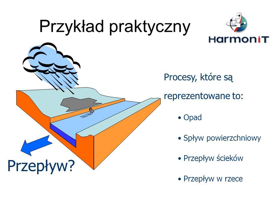 Przykład praktyczny Przepływ? Procesy, które są reprezentowane to: Opad Spływ powierzchniowy Przepływ ścieków Przepływ w rzece