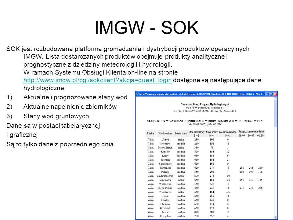 IMGW - SOK SOK jest rozbudowaną platformą gromadzenia i dystrybucji produktów operacyjnych IMGW. Lista dostarczanych produktów obejmuje produkty anali