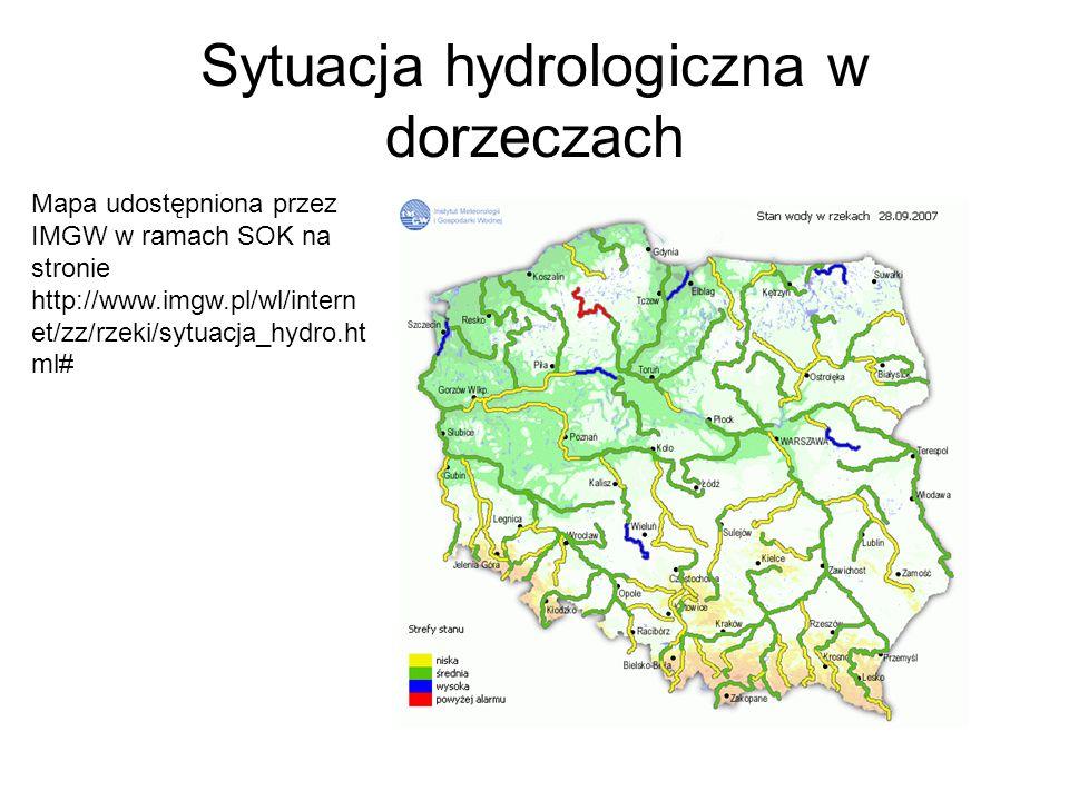 Sytuacja hydrologiczna w dorzeczach Mapa udostępniona przez IMGW w ramach SOK na stronie http://www.imgw.pl/wl/intern et/zz/rzeki/sytuacja_hydro.ht ml