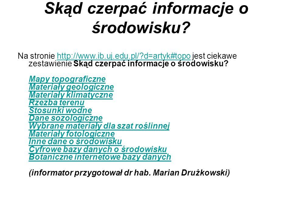 Skąd czerpać informacje o środowisku? Na stronie http://www.ib.uj.edu.pl/?d=artyk#topo jest ciekawe zestawienie Skąd czerpać informacje o środowisku?