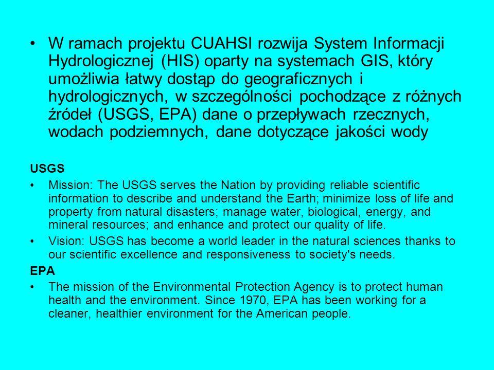W ramach projektu CUAHSI rozwija System Informacji Hydrologicznej (HIS) oparty na systemach GIS, który umożliwia łatwy dostąp do geograficznych i hydr