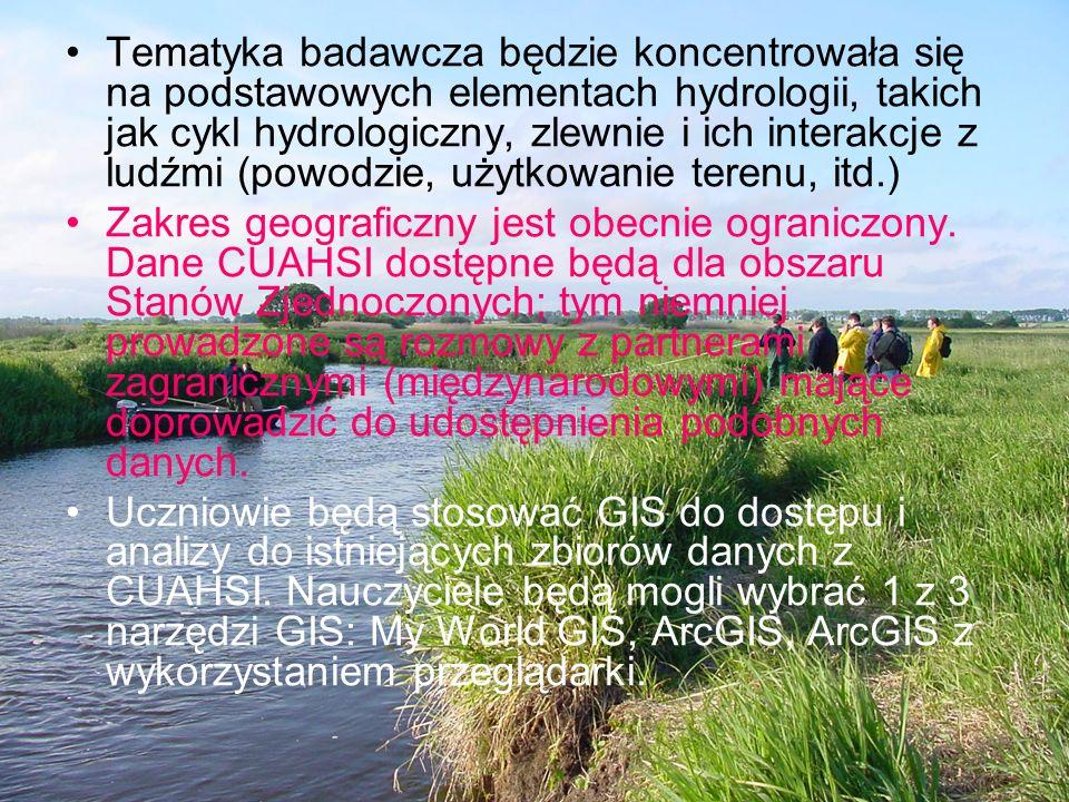 Tematyka badawcza będzie koncentrowała się na podstawowych elementach hydrologii, takich jak cykl hydrologiczny, zlewnie i ich interakcje z ludźmi (po