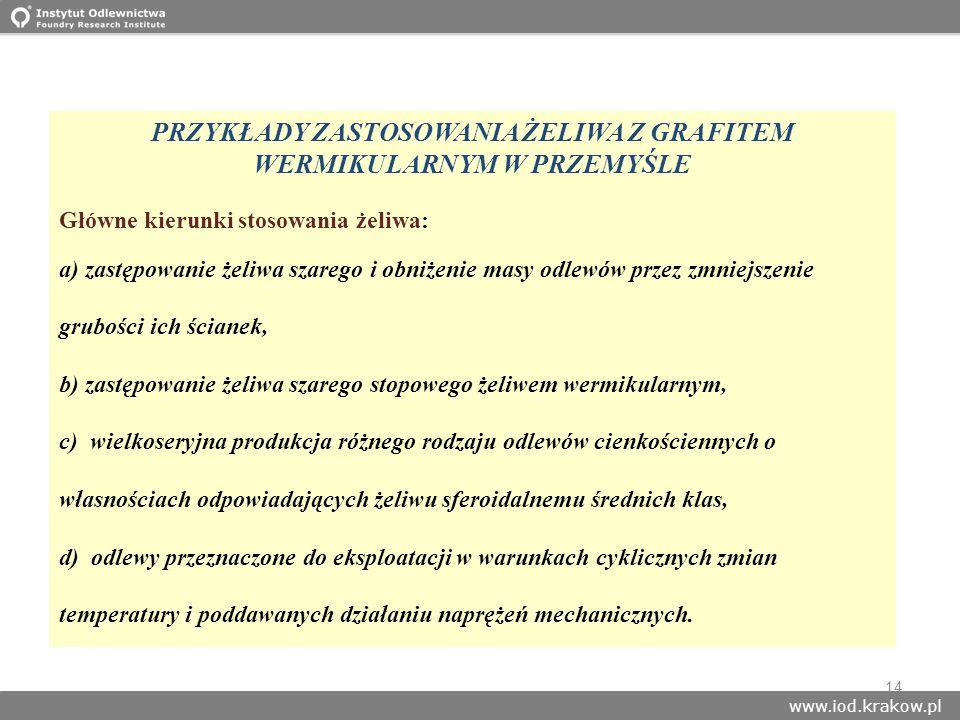 www.iod.krakow.pl 14 PRZYKŁADY ZASTOSOWANIA ŻELIWA Z GRAFITEM WERMIKULARNYM W PRZEMYŚLE Główne kierunki stosowania żeliwa: a) zastępowanie żeliwa szar