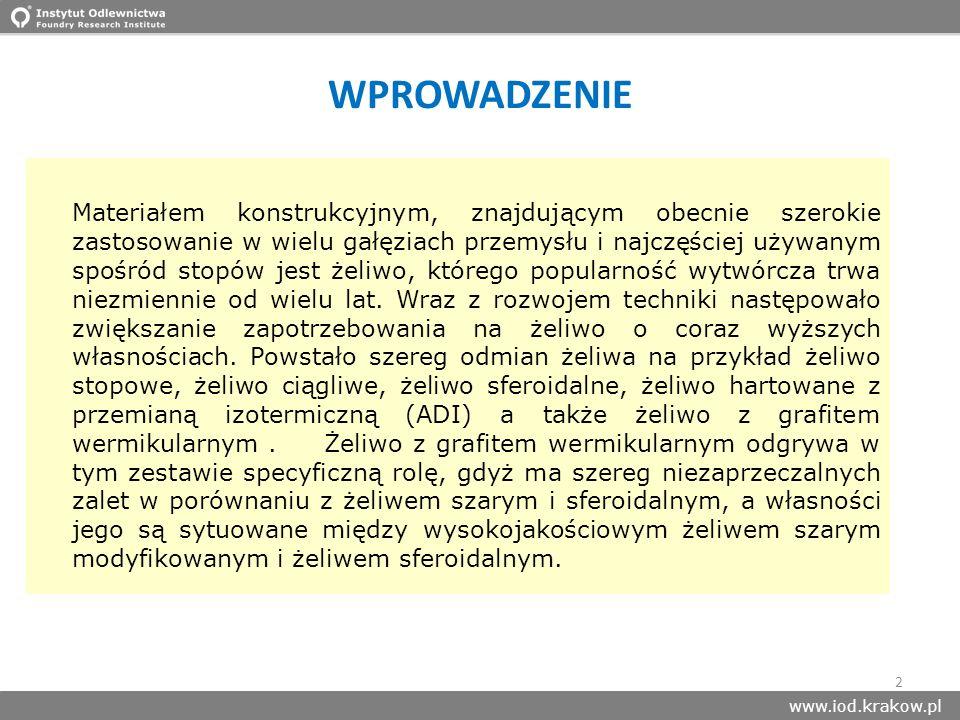 www.iod.krakow.pl Materiałem konstrukcyjnym, znajdującym obecnie szerokie zastosowanie w wielu gałęziach przemysłu i najczęściej używanym spośród stop