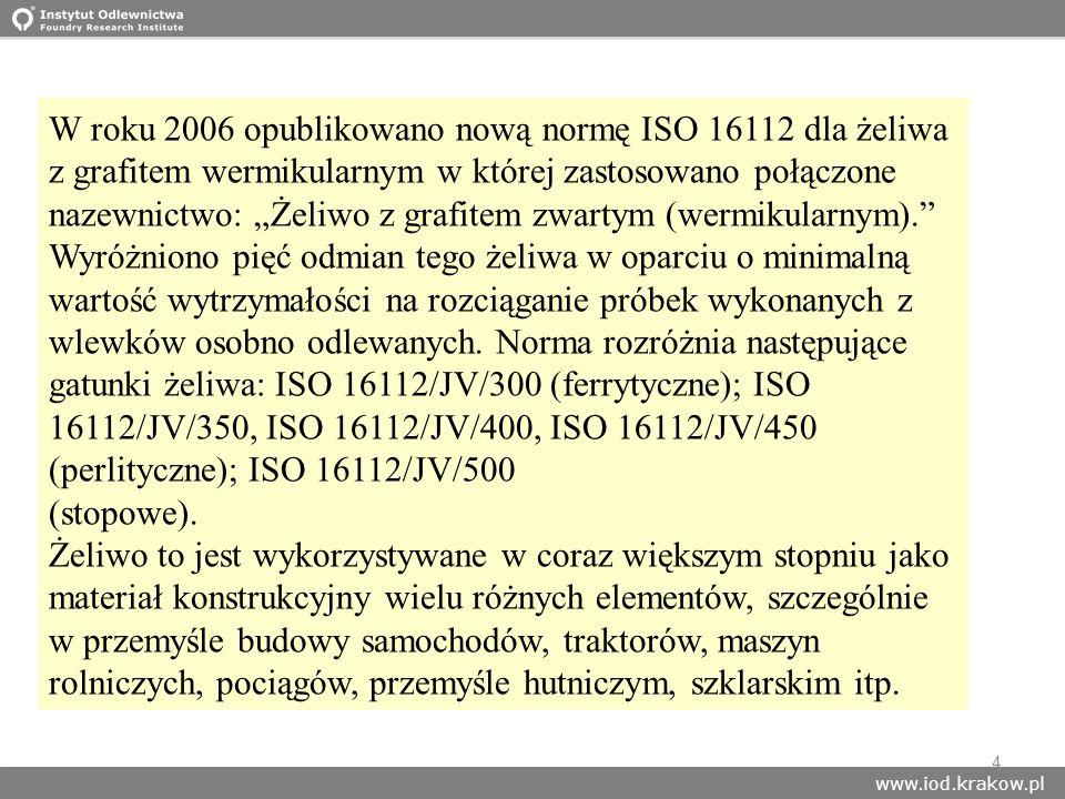 www.iod.krakow.pl 4 W roku 2006 opublikowano nową normę ISO 16112 dla żeliwa z grafitem wermikularnym w której zastosowano połączone nazewnictwo: Żeli