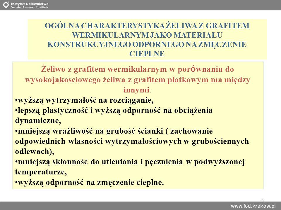 www.iod.krakow.pl 5 OGÓLNA CHARAKTERYSTYKA ŻELIWA Z GRAFITEM WERMIKULARNYM JAKO MATERIAŁU KONSTRUKCYJNEGO ODPORNEGO NA ZMĘCZENIE CIEPLNE Żeliwo z graf